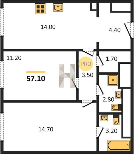 2-комнатная квартира в ЖК D1 (Д1)