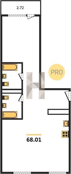 2-комнатная квартира в ЖК Серебряный фонтан