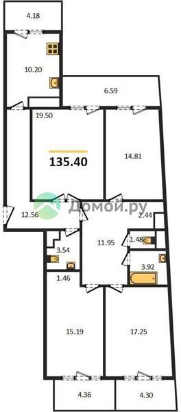 4-комнатная квартира в ЖК Маяк