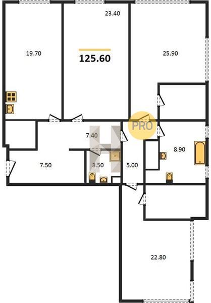3-комнатная квартира в ЖК Фили Сити