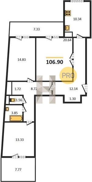 3-комнатная квартира в ЖК Маяк