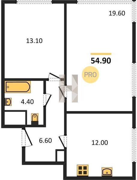2-комнатная квартира в ЖК Level Амурская