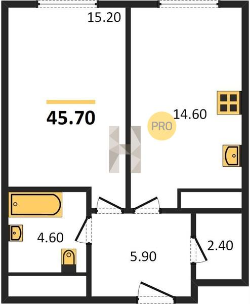 1-комнатная квартира в ЖК Пресня Сити